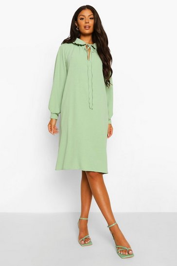 Lime green Woven Collar Detail Shift Dress