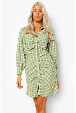 Stone beige Check Rouched Detail Shirt Dress