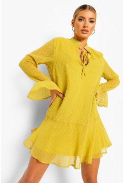 Chartreuse yellow Dobby Tie Neck Drop Hem Smock Dress