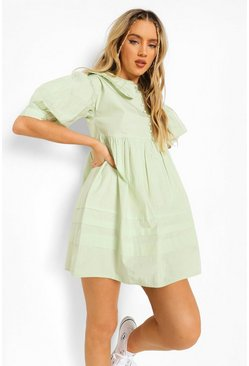 Sage green Collared Button Detail Smock Dress
