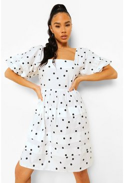 White Polka Dot Square Neck Smock Dress