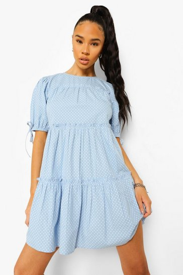 Blue Polka Dot Puff Sleeve Tiered Smock Dress