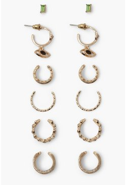 Gold metallic Emerald Hoop Stud And  Cuff Earring Pack