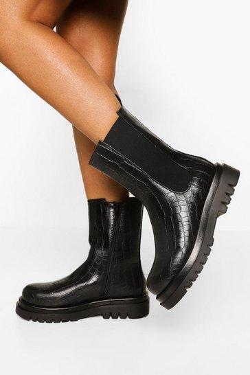 Black Croc Calf High Chelsea Boots