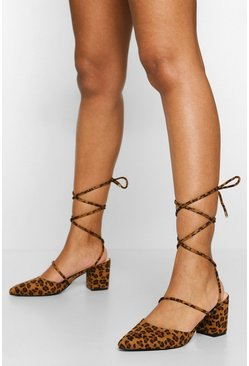 Leopard Wrap Up Strap Block Heel Ballet