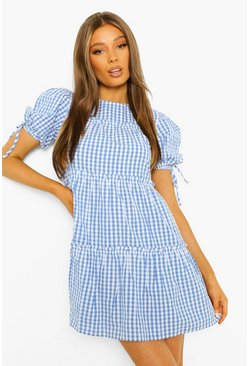 Blue Gingham Tie Sleeve Tiered Smock Dress