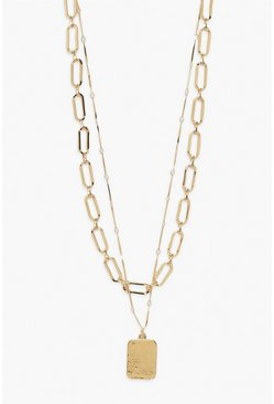 Gold metallic Tag Double Layered Chain Necklace