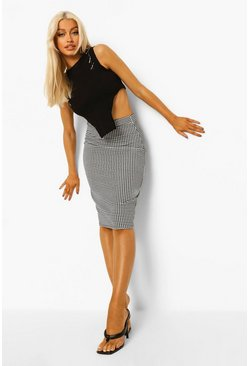 Mono multi Houndstooth Check Bodycon Midi Skirt