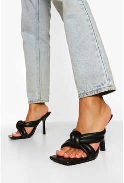 Black Wide Fit Padded Knot Mule