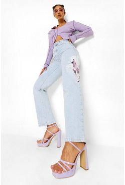 Bleach wash High Waist Boyfriend Jeans With Unicorn Print