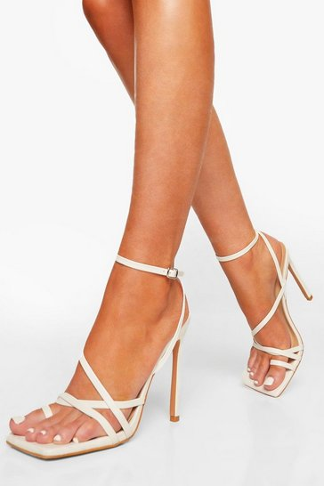 White Asymmetric Strappy Sandal