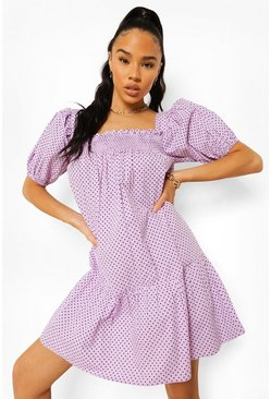 Lilac purple Polka Dot Square Neck Smock Dress