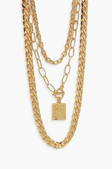 Gold metallic Triple 3 Chunky Chains Necklace