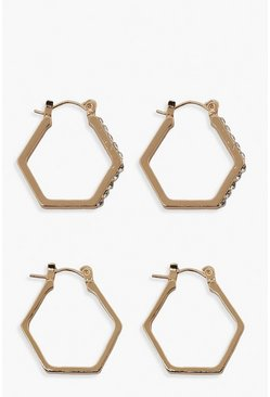 Gold metallic Hexagon Smooth And Diamante Hoop 2 Pack