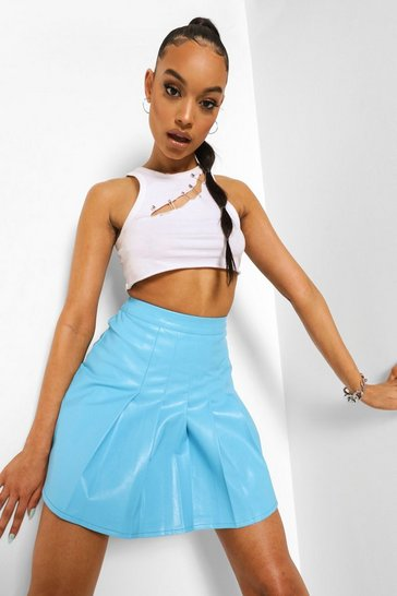 Blue Leather Look Pleat Front Tennis Skirt