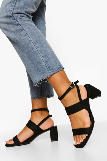 Black Low Block Double Strap Sandal