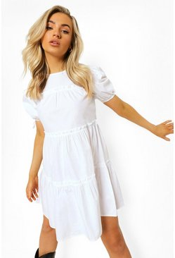 White Tiered Tie Sleeve Smock Dress