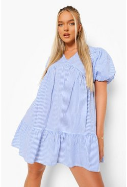 Blue Stripe Tie Back Smock Dress