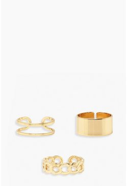Gold metallic Chain And Smooth Ring Pack