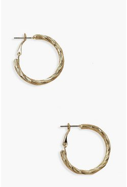 Gold metallic Chunky Twist Hoop Earrings