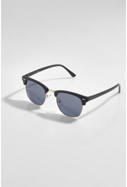 Black Half Framed Tinted Sunglasses