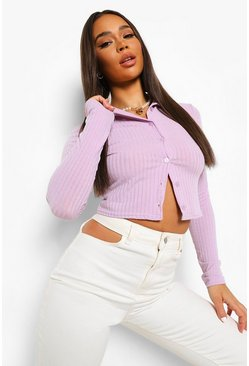 Lilac purple Rib Knit High Neck Button Through Cardigan