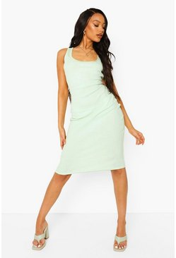 Lime green Rib Scoop Neck Bodycon Midi Dress