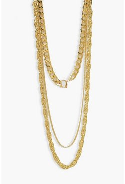 Gold metallic Chunky 3 Layer Chain Necklace
