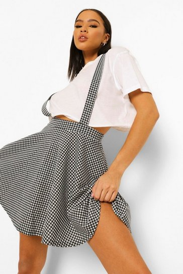 Mono multi Houndstooth Check Pinafore Skater Skirt