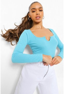 Pacific blue blue Rib Knit Notch Neckline Long Sleeve Top