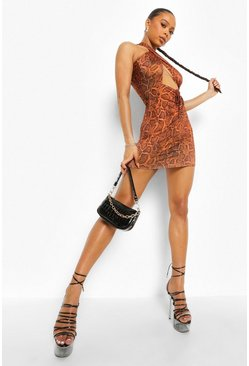 Brown Snake Cross Bust Slinky Mini Dress