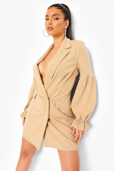 Stone beige Ruched Sleeve Blazer Dress