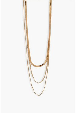 Gold metallic Flat Chain 3 Layer Necklace