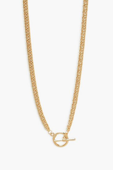 Gold metallic Chunky Flat Snake Chain Necklace