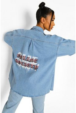 Light blue blue Oversized Denim Shirt With Back Print
