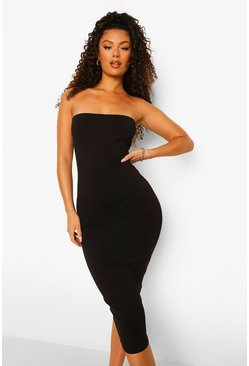 Black Bandeau Bodycon Midaxi Dress
