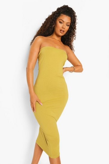 Olive green Bandeau Bodycon Midaxi Dress