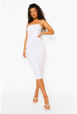 White Bandeau Bodycon Midaxi Dress