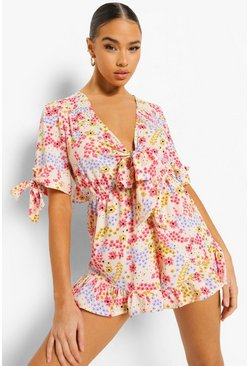 Flora Print Open Back Tie Detail Playsuit, Pink rosa