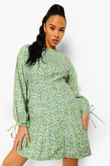 Green Ditsy Floral Tie Sleeve Smock Dress