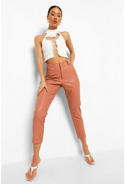 Nude Leather Look Skinny Trousers