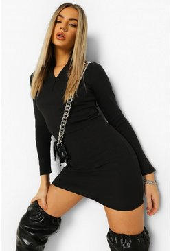 Black Rib Long Sleeve Zip Mini Dress