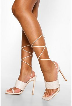 White Quilted Toe Post Sandal