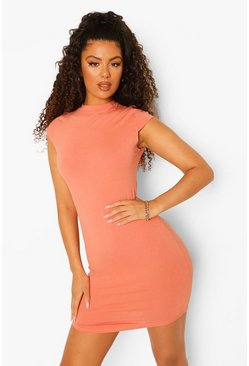 Caramel beige High Neck Bodycon Mini Dress