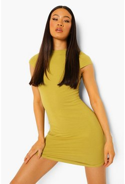Olive green High Neck Bodycon Mini Dress
