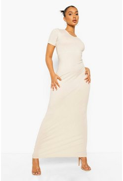 Stone beige Short Sleeve V Neck Maxi Dress