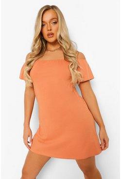 Caramel beige Bardot Shift Dress