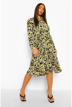 Green Printed Midi Pleated Shirt Dress