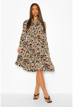 Nude Printed Midi Pleated Shirt Dress