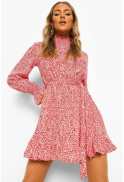 Red Floral Shirred High Neck Belted Skater Dress